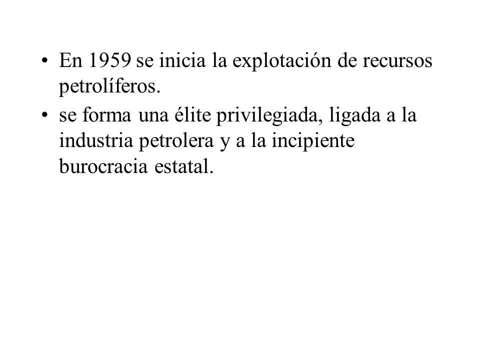 En 1959 se inicia la explotación de recursos petrolíferos.