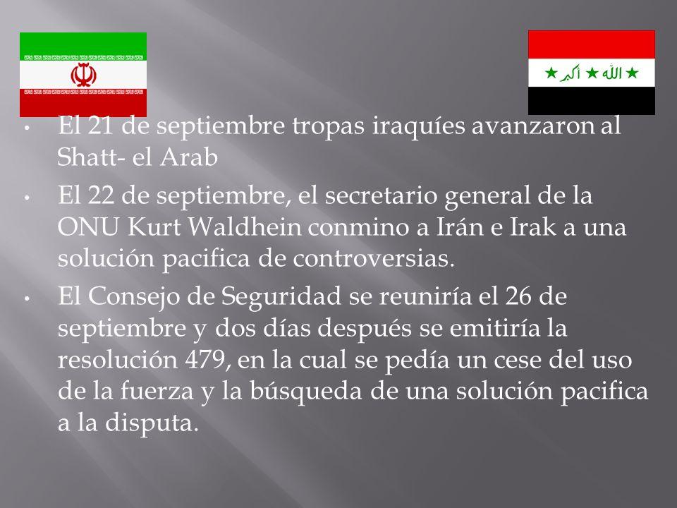 El 21 de septiembre tropas iraquíes avanzaron al Shatt- el Arab
