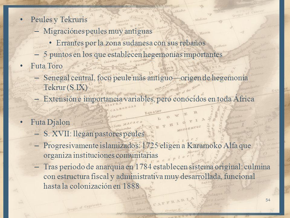 Peules y TekrurisMigraciónes peules muy antiguas. Errantes por la zona sudanesa con sus rebaños.