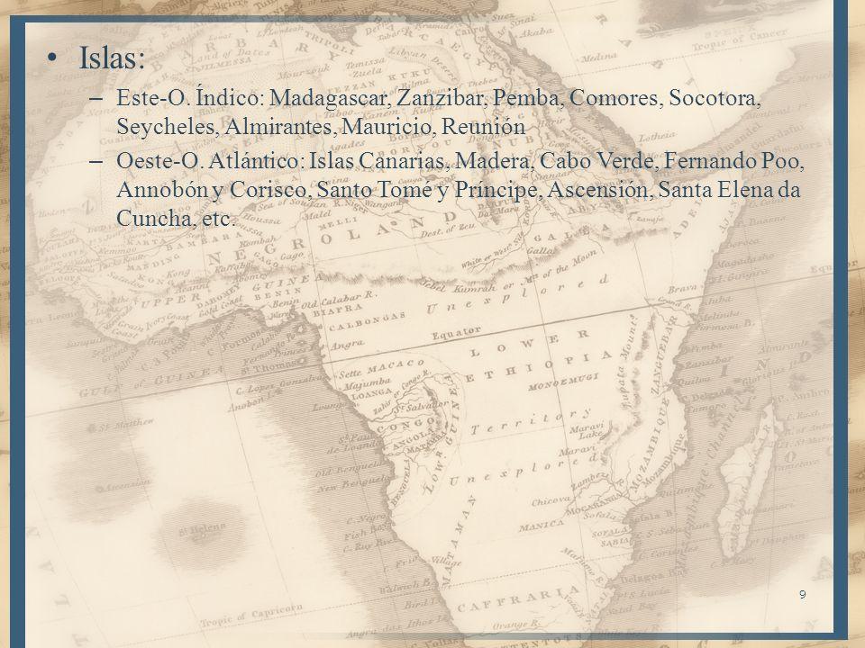 Islas: Este-O. Índico: Madagascar, Zanzibar, Pemba, Comores, Socotora, Seycheles, Almirantes, Mauricio, Reunión.