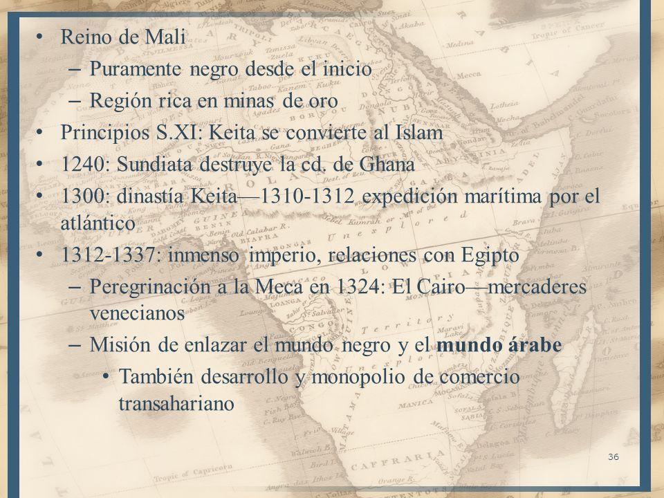 Reino de MaliPuramente negro desde el inicio. Región rica en minas de oro. Principios S.XI: Keita se convierte al Islam.