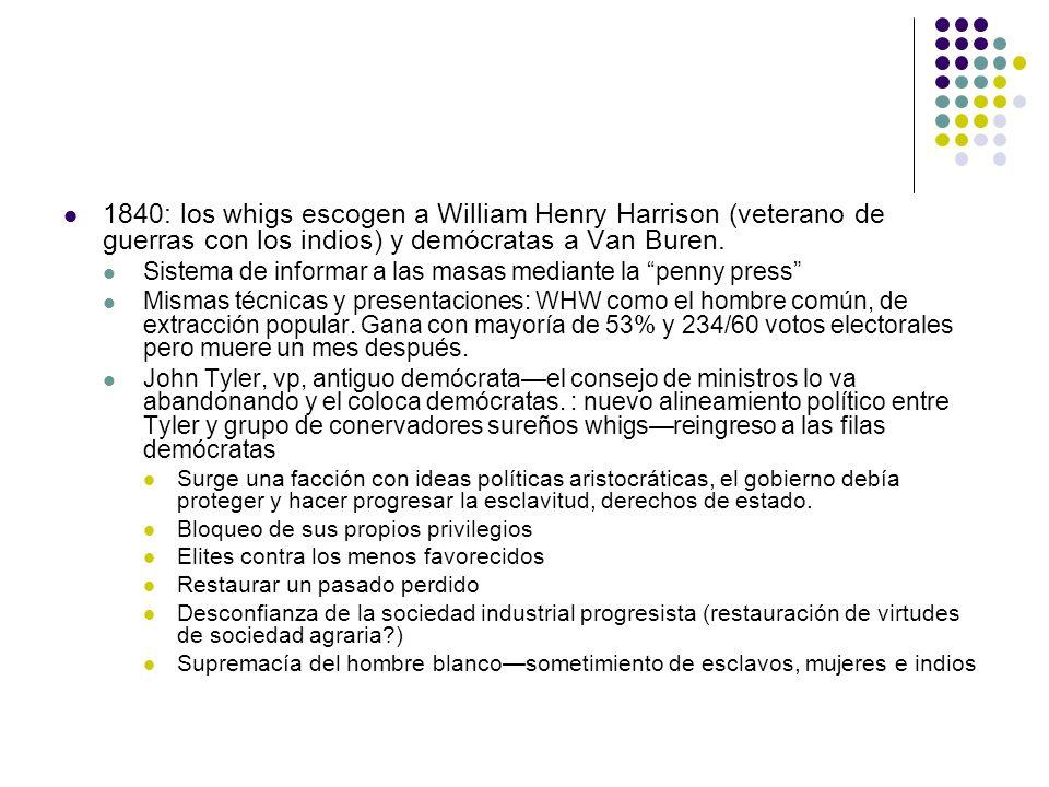 1840: los whigs escogen a William Henry Harrison (veterano de guerras con los indios) y demócratas a Van Buren.