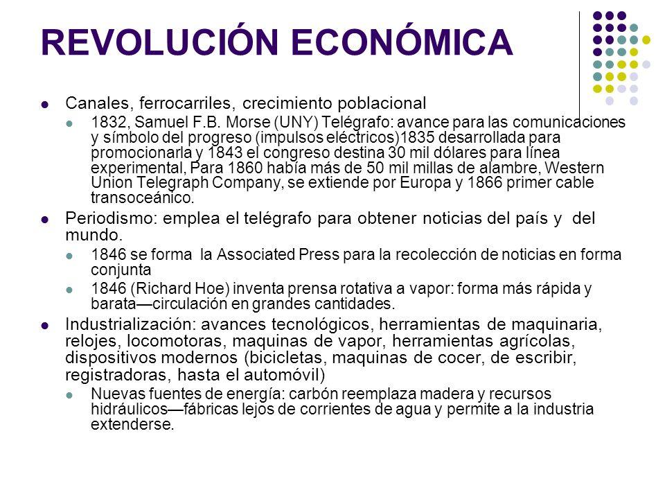 REVOLUCIÓN ECONÓMICA Canales, ferrocarriles, crecimiento poblacional