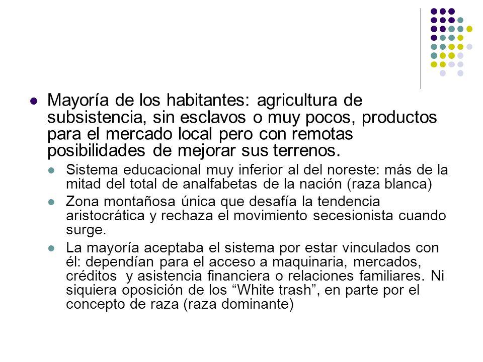 Mayoría de los habitantes: agricultura de subsistencia, sin esclavos o muy pocos, productos para el mercado local pero con remotas posibilidades de mejorar sus terrenos.