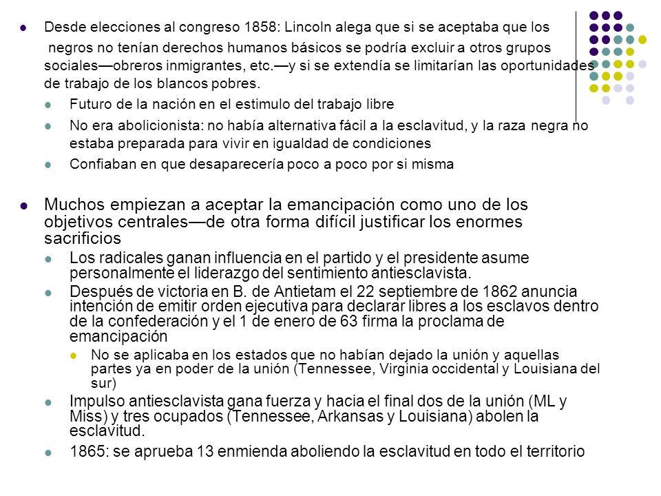 Desde elecciones al congreso 1858: Lincoln alega que si se aceptaba que los