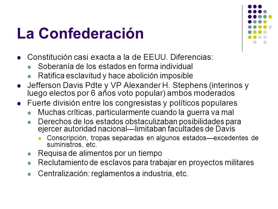La Confederación Constitución casi exacta a la de EEUU. Diferencias: