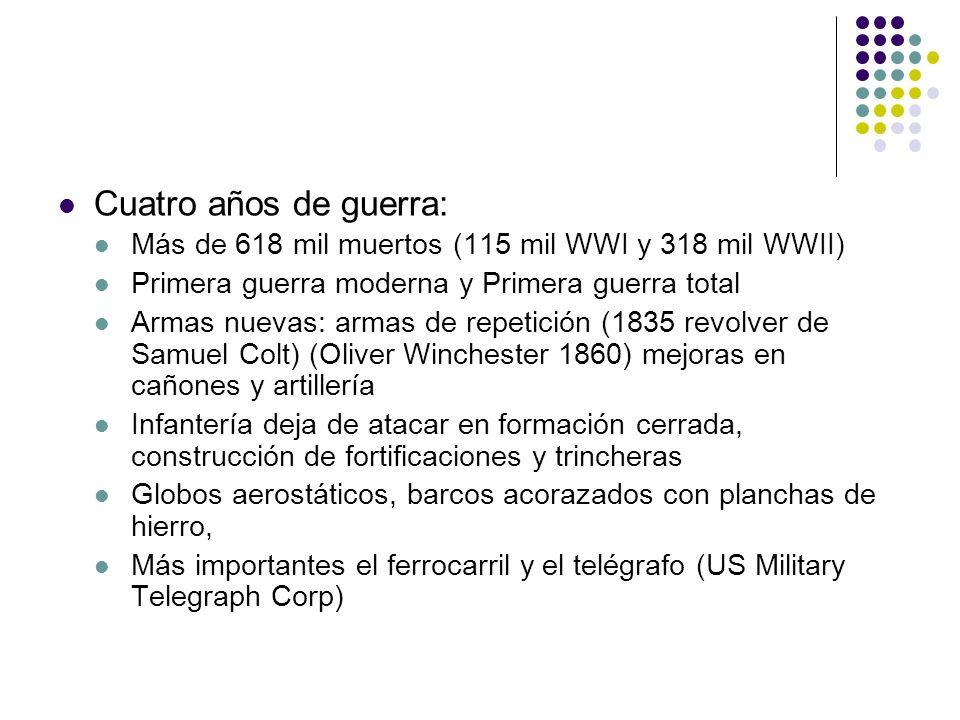 Cuatro años de guerra: Más de 618 mil muertos (115 mil WWI y 318 mil WWII) Primera guerra moderna y Primera guerra total.