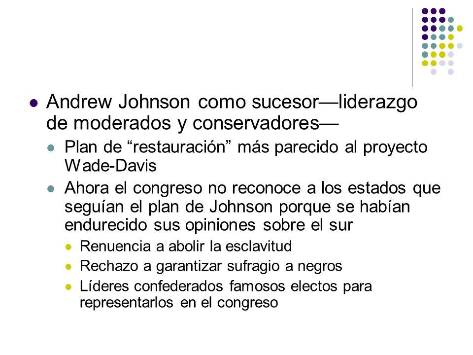 Andrew Johnson como sucesor—liderazgo de moderados y conservadores—