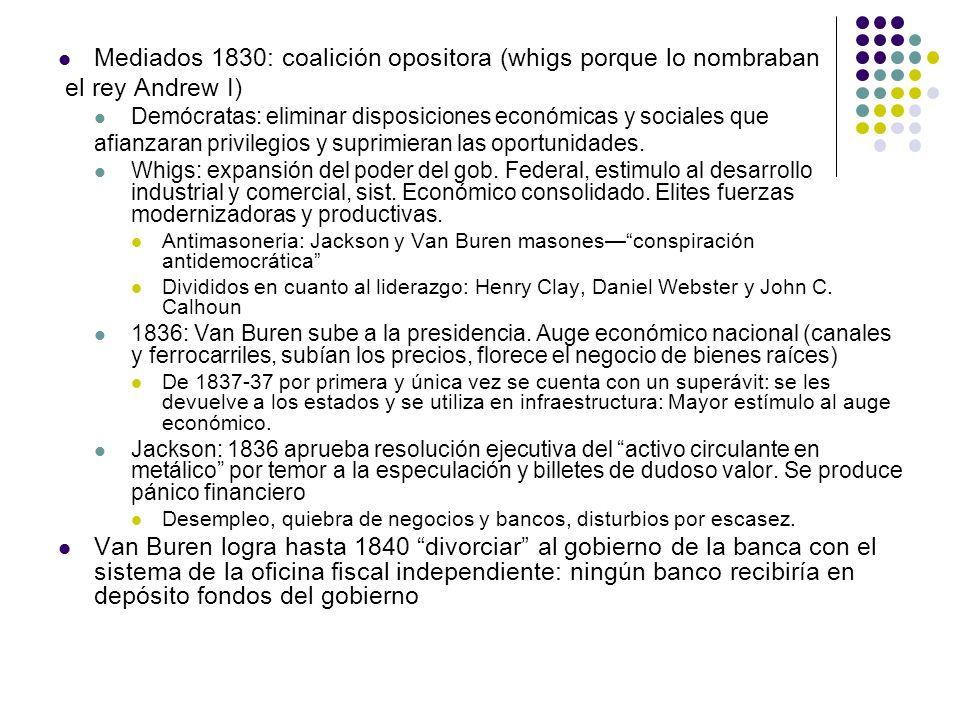 Mediados 1830: coalición opositora (whigs porque lo nombraban