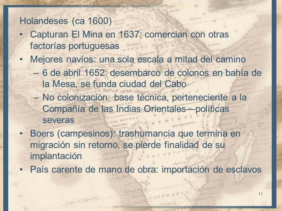 Holandeses (ca 1600)Capturan El Mina en 1637; comercian con otras factorías portuguesas. Mejores navíos: una sola escala a mitad del camino.