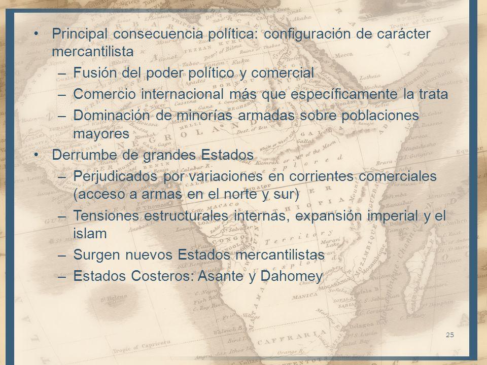 Principal consecuencia política: configuración de carácter mercantilista