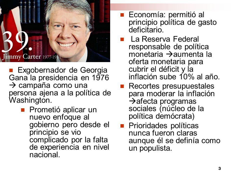 Economía: permitió al principio política de gasto deficitario.