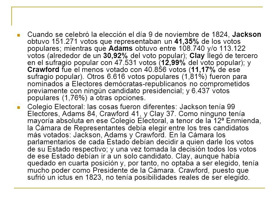 Cuando se celebró la elección el día 9 de noviembre de 1824, Jackson obtuvo 151.271 votos que representaban un 41,35% de los votos populares; mientras que Adams obtuvo entre 108.740 y/o 113.122 votos (alrededor de un 30,92% del voto popular); Clay llegó de tercero en el sufragio popular con 47.531 votos (12,99% del voto popular); y Crawford fue el menos votado con 40.856 votos (11,17% de ese sufragio popular). Otros 6.616 votos populares (1,81%) fueron para nominados a Electores demócratas-republicanos no comprometidos previamente con ningún candidato presidencial; y 6.437 votos populares (1,76%) a otras opciones.