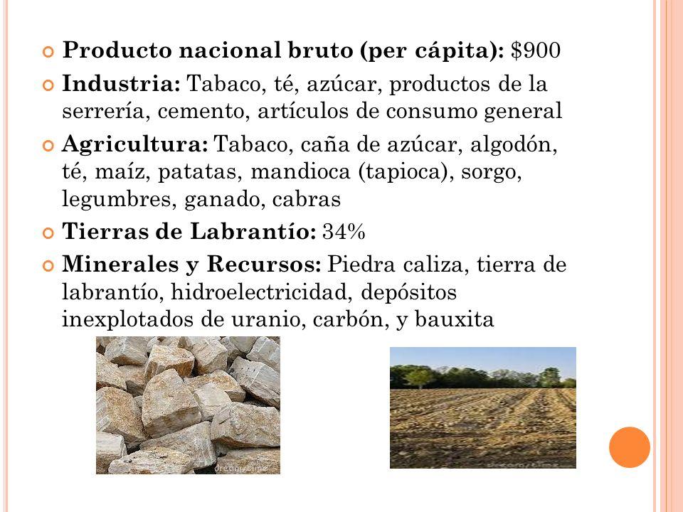 Producto nacional bruto (per cápita): $900