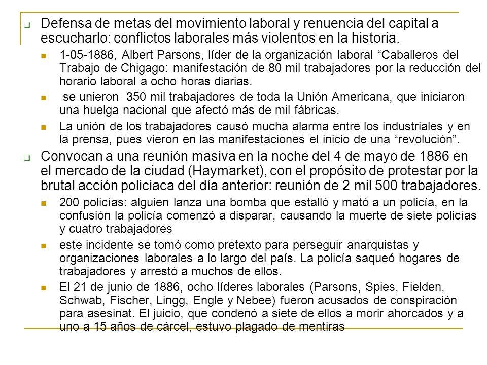 Defensa de metas del movimiento laboral y renuencia del capital a escucharlo: conflictos laborales más violentos en la historia.