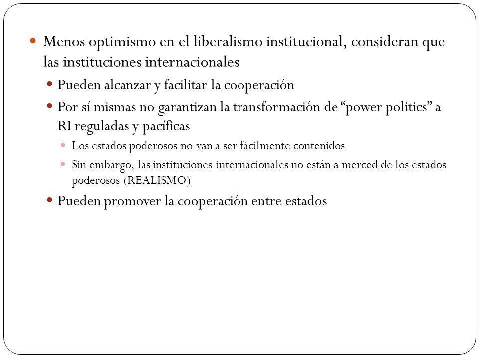 Menos optimismo en el liberalismo institucional, consideran que las instituciones internacionales