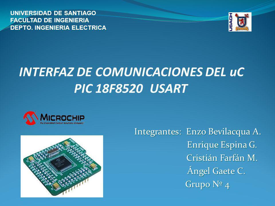 INTERFAZ DE COMUNICACIONES DEL uC PIC 18F8520 USART