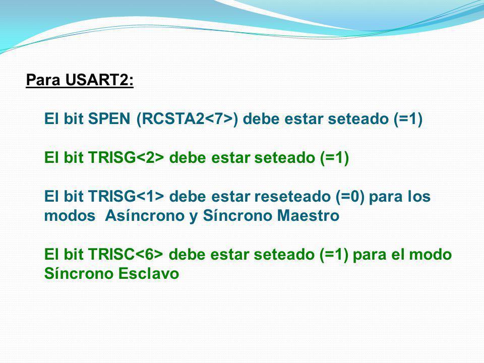Para USART2: El bit SPEN (RCSTA2<7>) debe estar seteado (=1) El bit TRISG<2> debe estar seteado (=1)