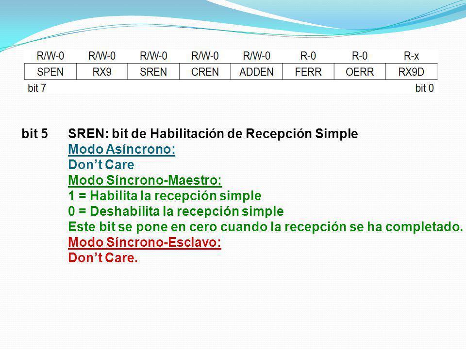bit 5 SREN: bit de Habilitación de Recepción Simple