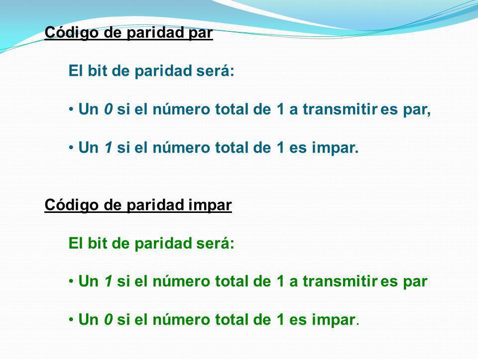 Código de paridad par El bit de paridad será: Un 0 si el número total de 1 a transmitir es par, Un 1 si el número total de 1 es impar.