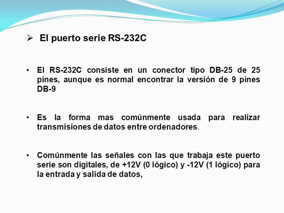 El puerto serie RS-232C El RS-232C consiste en un conector tipo DB-25 de 25 pines, aunque es normal encontrar la versión de 9 pines DB-9.