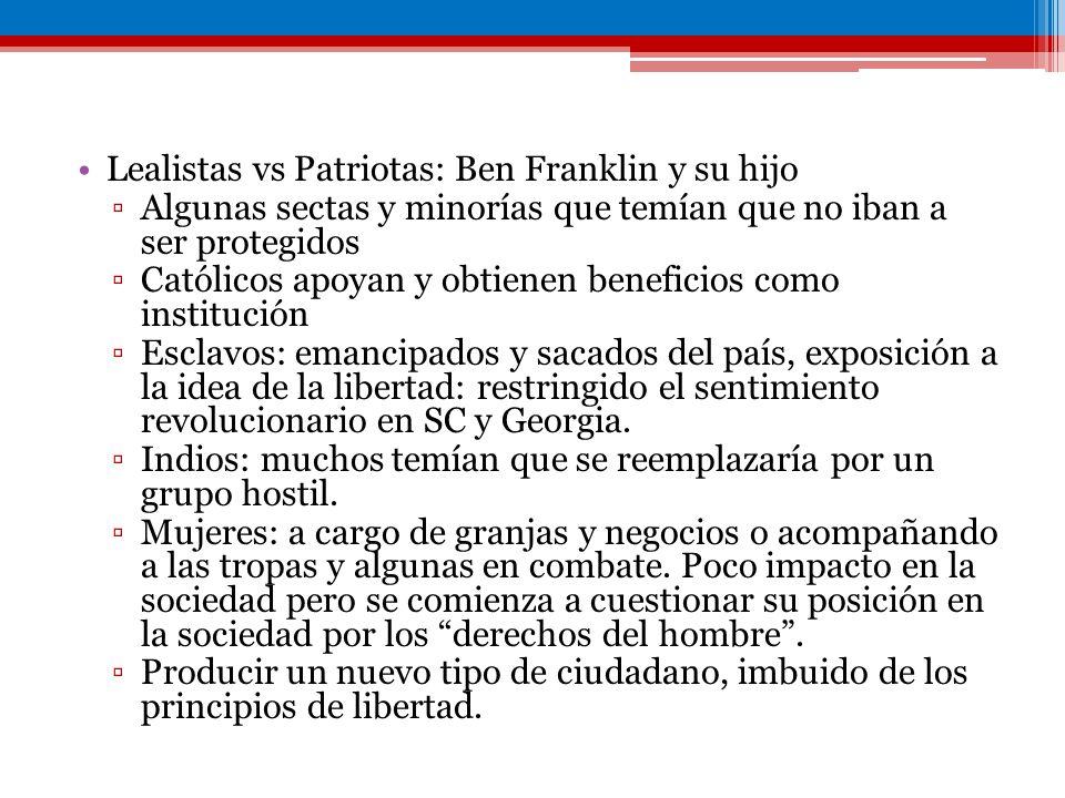 Lealistas vs Patriotas: Ben Franklin y su hijo