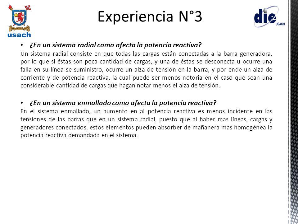 Experiencia N°3 ¿En un sistema radial como afecta la potencia reactiva