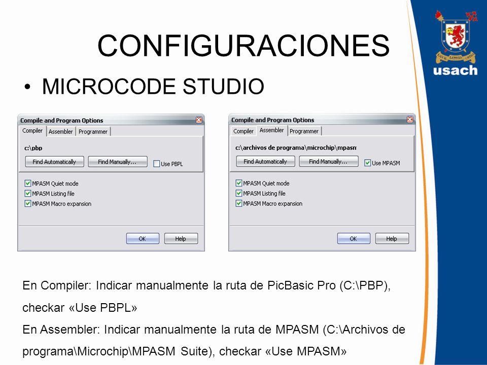 CONFIGURACIONES MICROCODE STUDIO