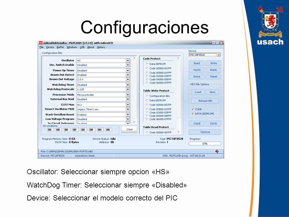 Configuraciones Oscillator: Seleccionar siempre opcion «HS»