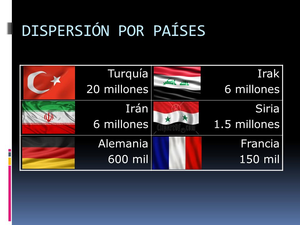 DISPERSIÓN POR PAÍSES Turquía 20 millones Irak 6 millones Irán Siria