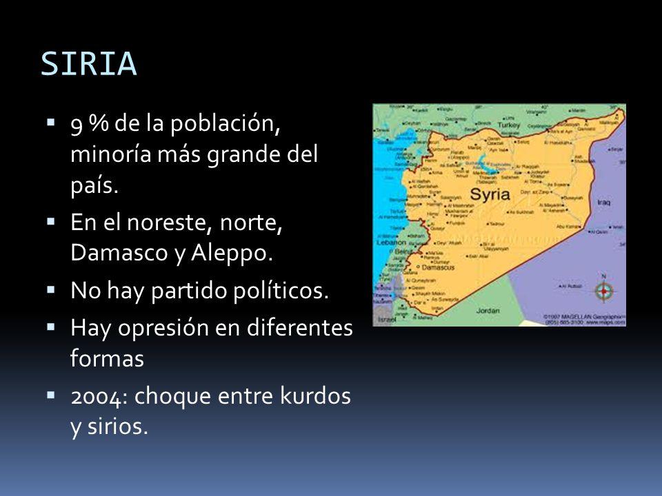SIRIA 9 % de la población, minoría más grande del país.