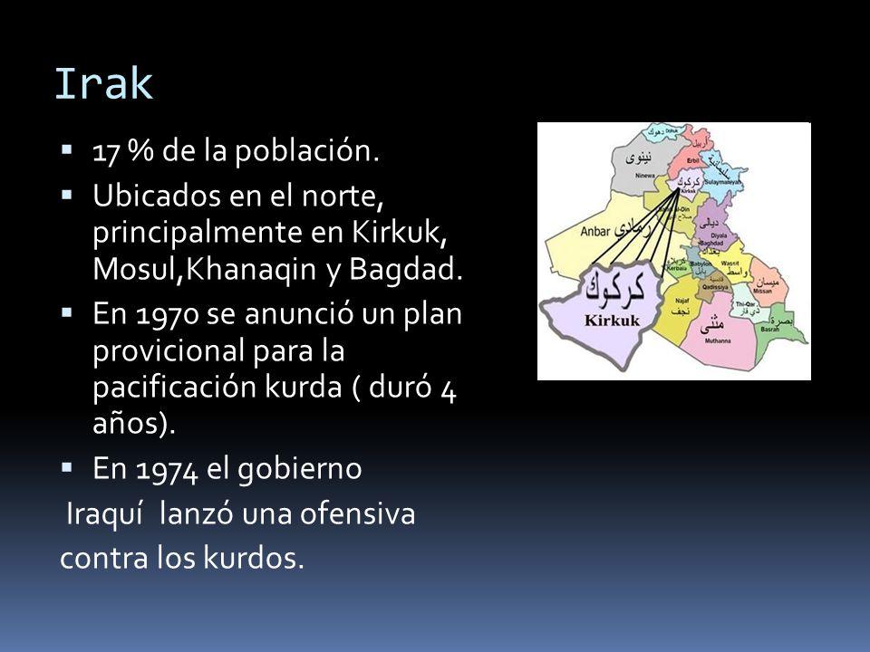 Irak 17 % de la población. Ubicados en el norte, principalmente en Kirkuk, Mosul,Khanaqin y Bagdad.