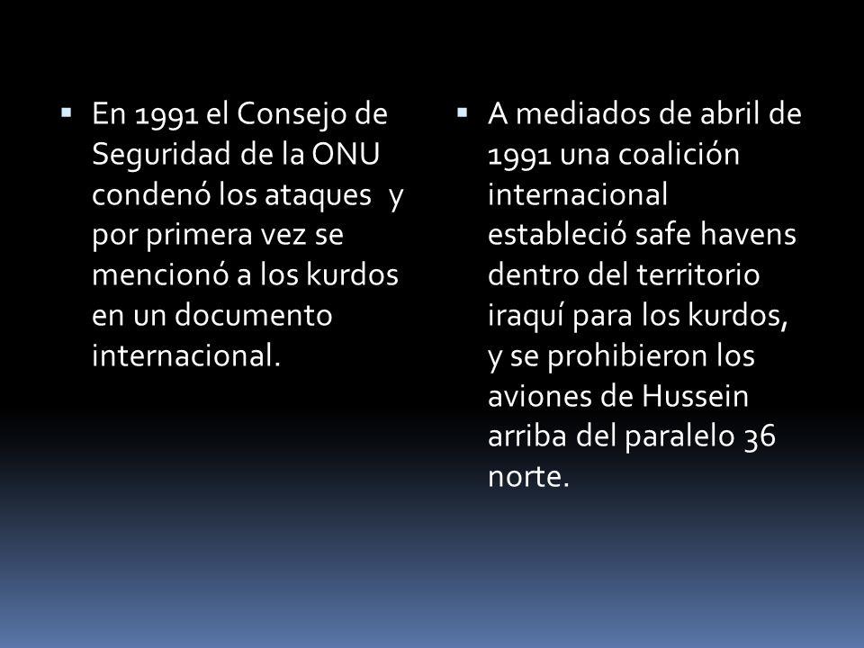 En 1991 el Consejo de Seguridad de la ONU condenó los ataques y por primera vez se mencionó a los kurdos en un documento internacional.