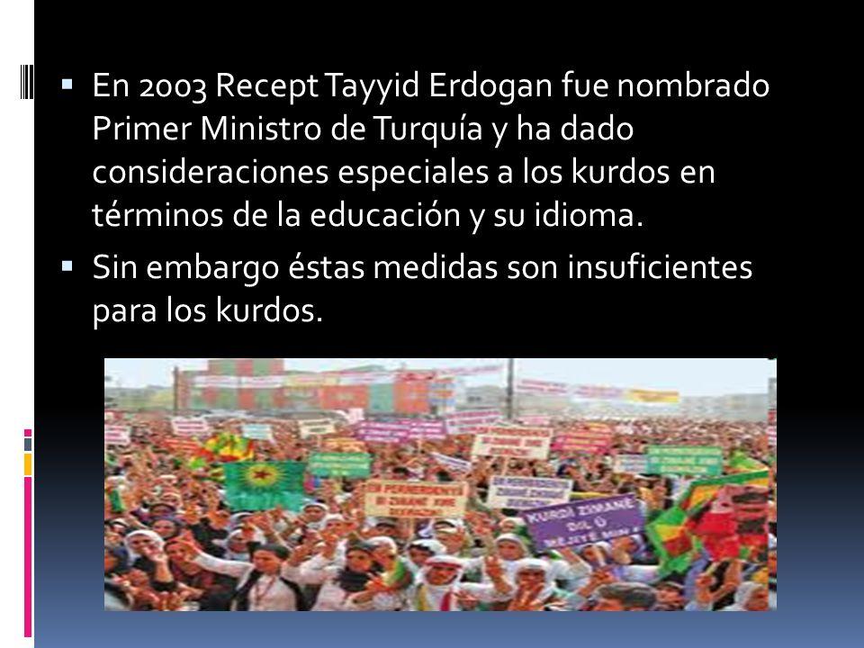 En 2003 Recept Tayyid Erdogan fue nombrado Primer Ministro de Turquía y ha dado consideraciones especiales a los kurdos en términos de la educación y su idioma.