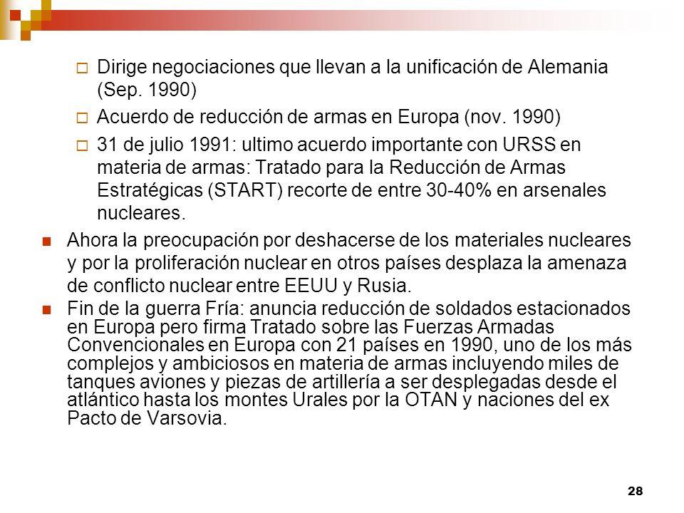 Dirige negociaciones que llevan a la unificación de Alemania (Sep