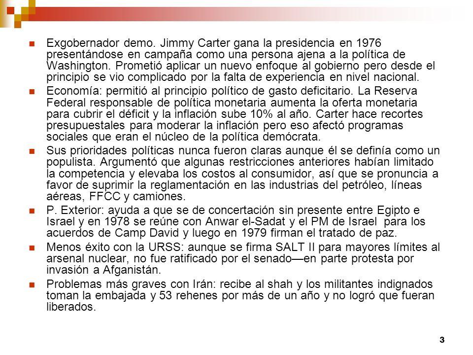 Exgobernador demo. Jimmy Carter gana la presidencia en 1976 presentándose en campaña como una persona ajena a la política de Washington. Prometió aplicar un nuevo enfoque al gobierno pero desde el principio se vio complicado por la falta de experiencia en nivel nacional.