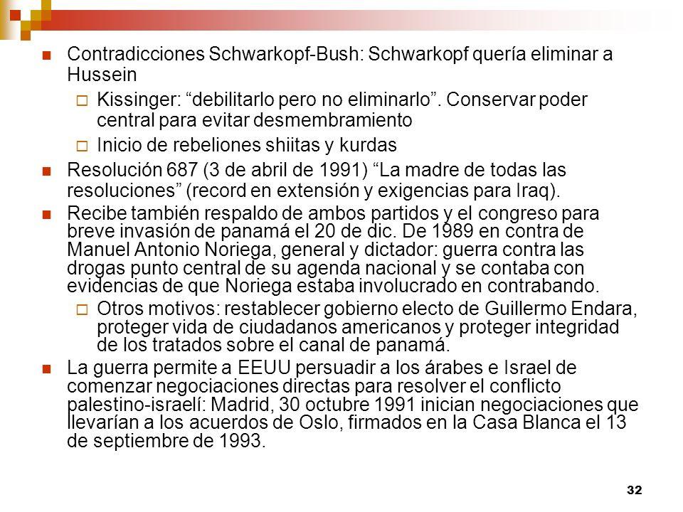 Contradicciones Schwarkopf-Bush: Schwarkopf quería eliminar a Hussein
