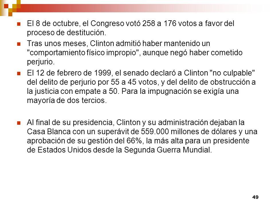 El 8 de octubre, el Congreso votó 258 a 176 votos a favor del proceso de destitución.
