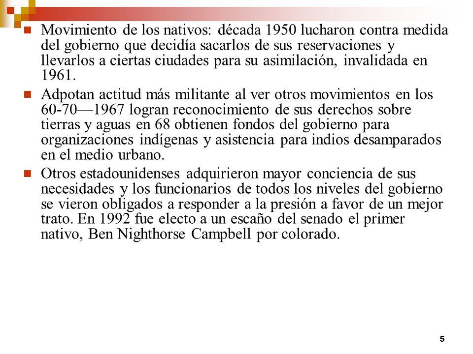 Movimiento de los nativos: década 1950 lucharon contra medida del gobierno que decidía sacarlos de sus reservaciones y llevarlos a ciertas ciudades para su asimilación, invalidada en 1961.