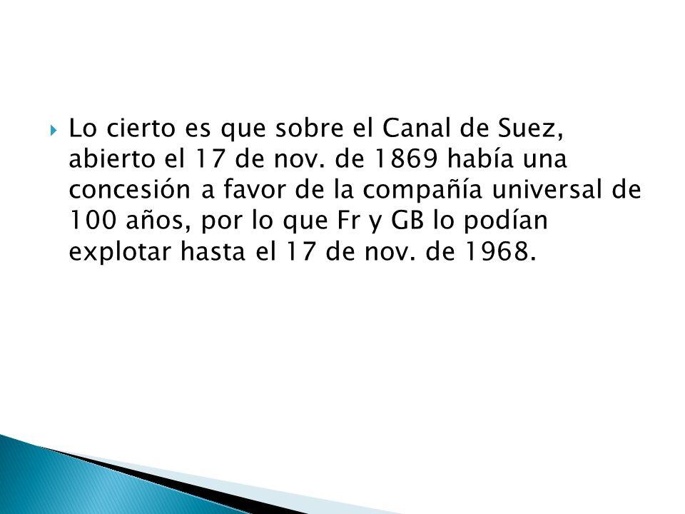 Lo cierto es que sobre el Canal de Suez, abierto el 17 de nov