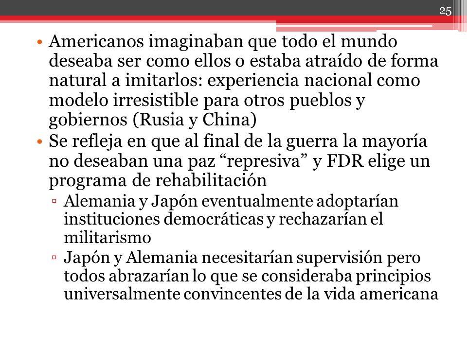 Americanos imaginaban que todo el mundo deseaba ser como ellos o estaba atraído de forma natural a imitarlos: experiencia nacional como modelo irresistible para otros pueblos y gobiernos (Rusia y China)