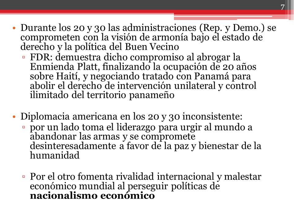 Durante los 20 y 30 las administraciones (Rep. y Demo