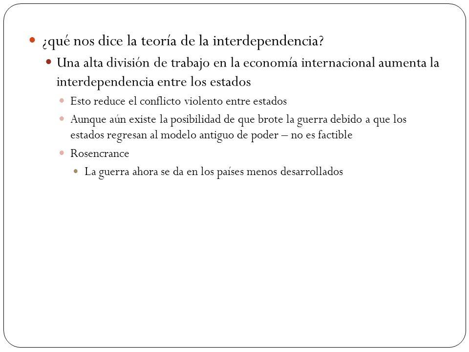 ¿qué nos dice la teoría de la interdependencia