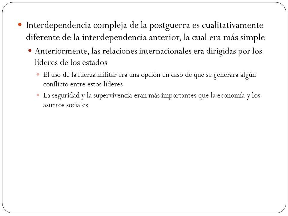 Interdependencia compleja de la postguerra es cualitativamente diferente de la interdependencia anterior, la cual era más simple