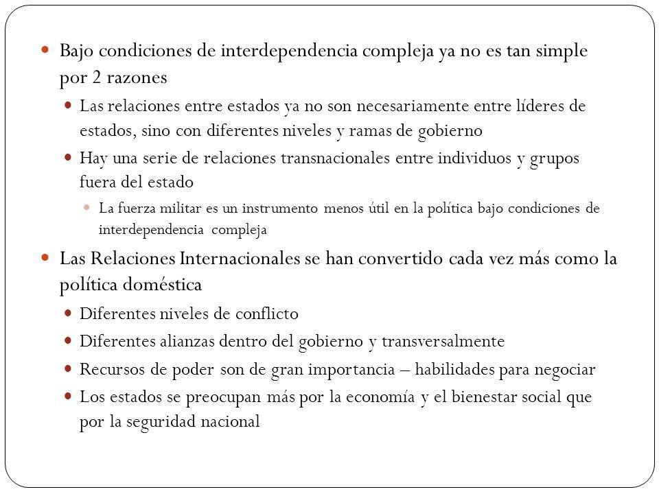 Bajo condiciones de interdependencia compleja ya no es tan simple por 2 razones