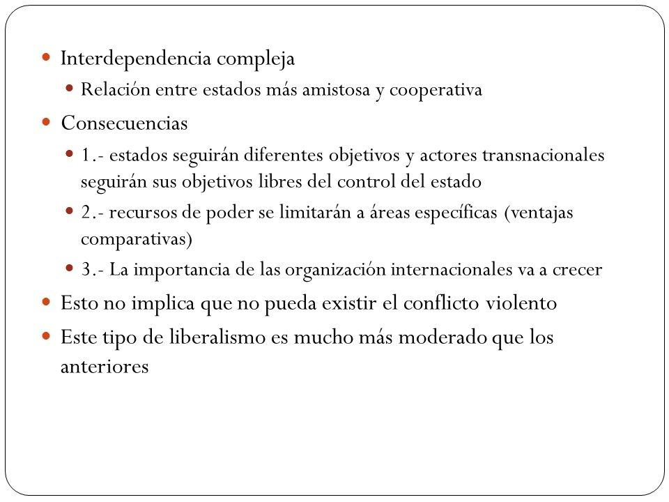 Interdependencia compleja Consecuencias