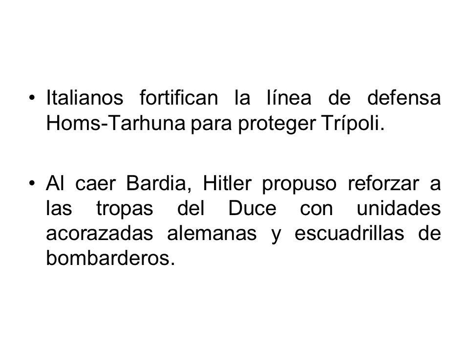 Italianos fortifican la línea de defensa Homs-Tarhuna para proteger Trípoli.