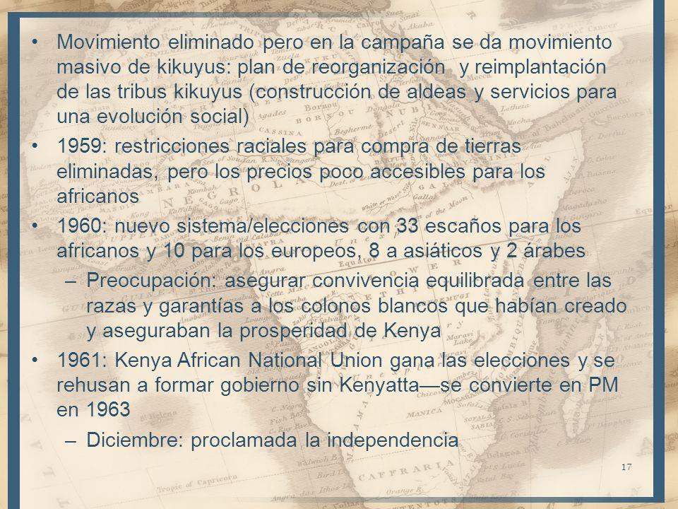 Movimiento eliminado pero en la campaña se da movimiento masivo de kikuyus: plan de reorganización y reimplantación de las tribus kikuyus (construcción de aldeas y servicios para una evolución social)