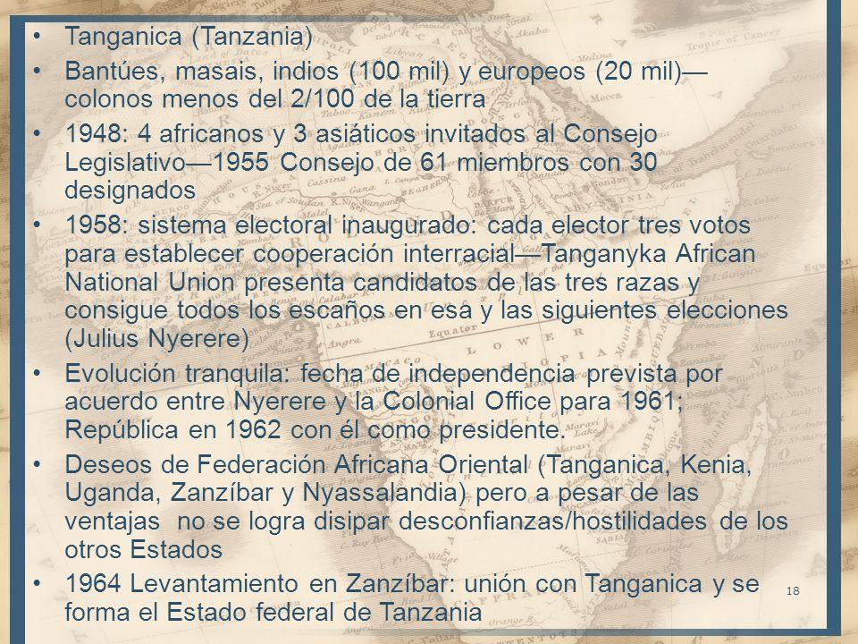 Tanganica (Tanzania) Bantúes, masais, indios (100 mil) y europeos (20 mil)—colonos menos del 2/100 de la tierra.