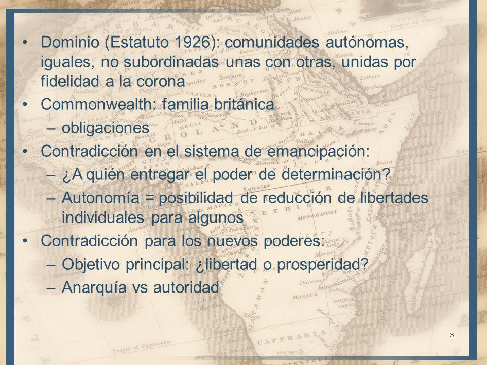 Dominio (Estatuto 1926): comunidades autónomas, iguales, no subordinadas unas con otras, unidas por fidelidad a la corona